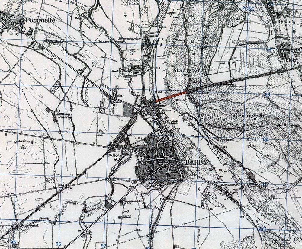 Kanonenbahn Barby | Historische Bahnkarte