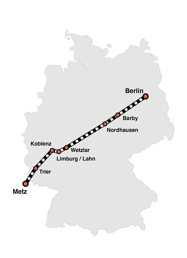 Kanonenbahn Barby |Streckenverlauf